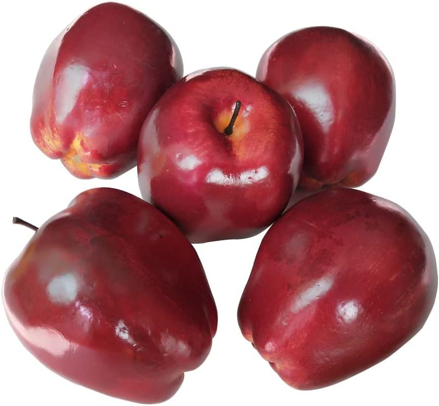 Lorigun Artificial Apples Fake Fruits Red Delicious Apples for Decoration, Decorative Fruit, Faux Big Red Apples 6 Pcs