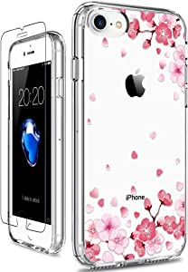 GiiKa iPhone 8 Case, iPhone 7 Case with Screen Protector, Clear Shockproof Protective Case Floral Girls Women Hard PC Back Case with Slim TPU Bumper Cover Phone Case for iPhone 7, Pink Floral