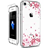 GiiKa iPhone SE 2020 Case, iPhone 8 Case, iPhone 7 Case with Screen Protector, Clear Shockproof Protective Case Floral Girls