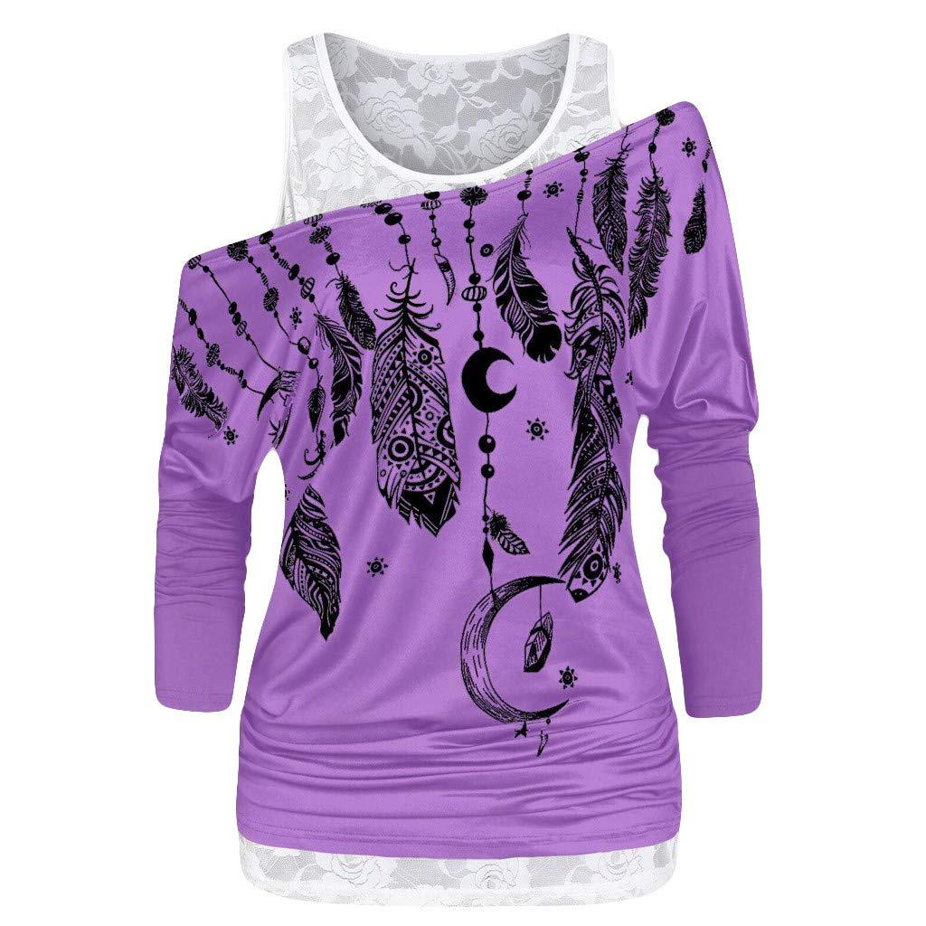 2-Piece Set Clothing New in HAALIFE◕‿ Women Chiffon Tank top+Womens Long Sleeve t Shirts Feather Print Casual Tunic Blouse Purple by HAALIFE Women's Clothing