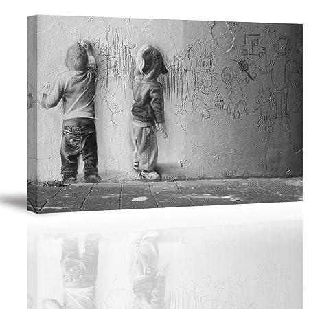 piy painting graffiti canvas print two graffiti boys on street hd