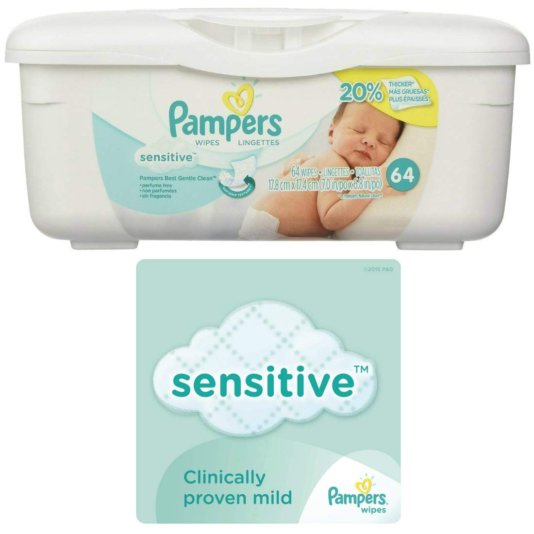 Amazon.com : Pampers Sensitive Wipes Tub (64 ct) Bundle with Huggies Natural Care Flip Top Wipes (32 ct) : Baby
