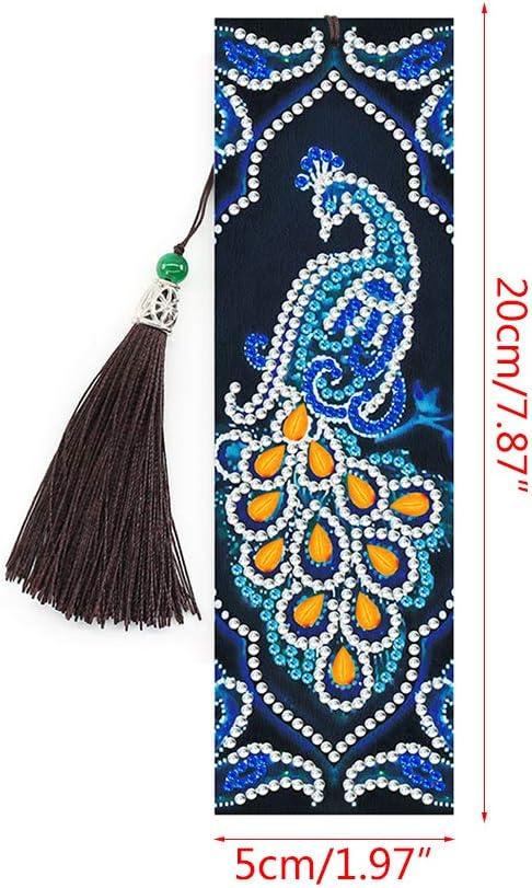 QYIYA 2 PCS Blue Peacock Diamond Painting Bookmarks-Diamond Painting for Bookmarks