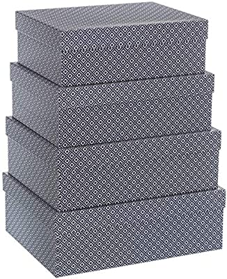 UNIMASA Set 6 Cajas cartón Forrado Flor 48x37x17 cm, Gris: Amazon.es: Hogar