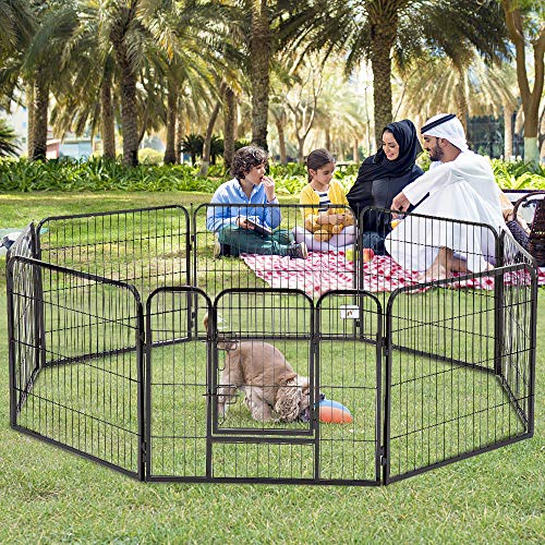 Dog Pen 8 Panel Folding Portable Pet Playpen with Door Heavy Duty Metal Puppy Dog Exercise Pen Indoor Outdoor Dog Fence…