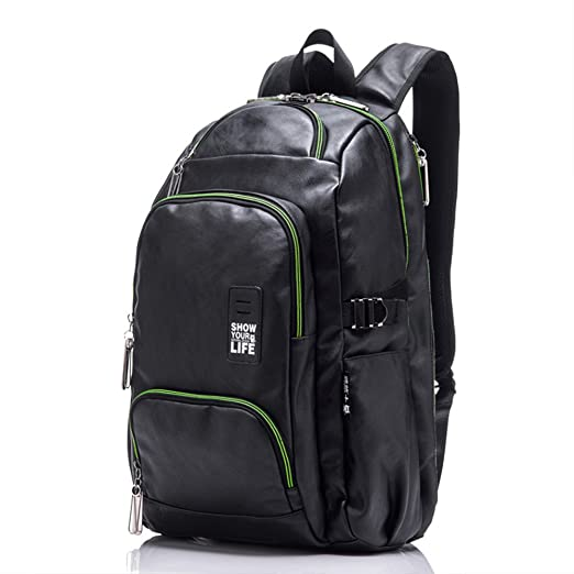 1cb56bca95d6 Image Unavailable. Image not available for. Color  Small Leather Backpack  Water Resistant Travel Backpack Lightweight Laptop ...