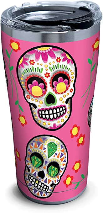 b9a17d073bf Tervis 1261355 Sugar Skulls Stainless Steel Tumbler with Clear and Black  Hammer Lid 20oz, Silver
