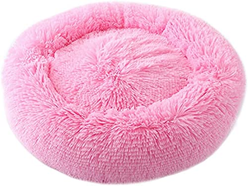 Round Cat and Dog Cushion Bed Luxury Shag Fur Donut Pet Bed Self-Warming Indoor Pet Pillow Cuddler Extra Soft Comfortable Pet Bed Sofa Plush Cats Dogs Nest Bed Cushions 50CM,Pink