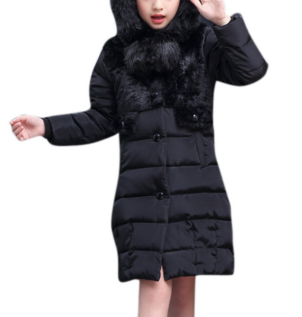 Girls Winter Down Maxi Quilted Faux Fur Hooded Trim Padded Overcoat Parka Jacket Outerwear 120 Black