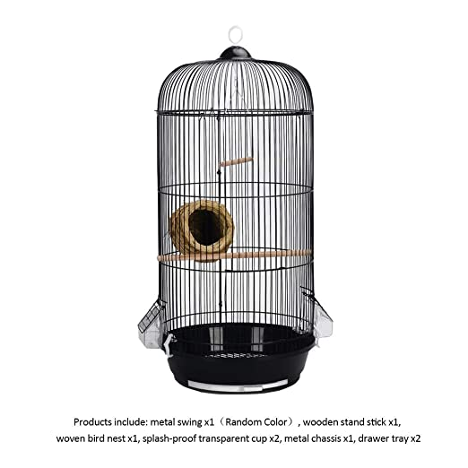 TIKEN Agapornis Jaula para Pájaros Redonda Metal Bird Villa Jaula ...