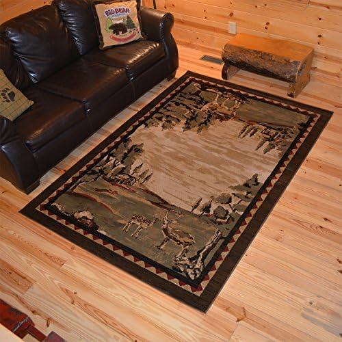 Rustic Lodge Deer Field 8×10 Brown Area Rug, 7 10 x9 10 6948