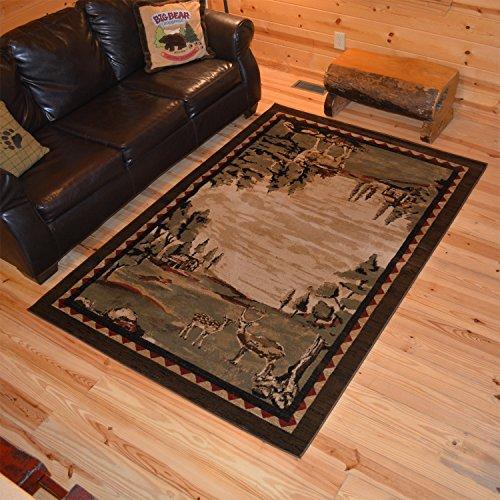 """Cheap Rustic Lodge Deer Field 8×10 Brown Area Rug, 7'10″x9'10"""" 6948"""