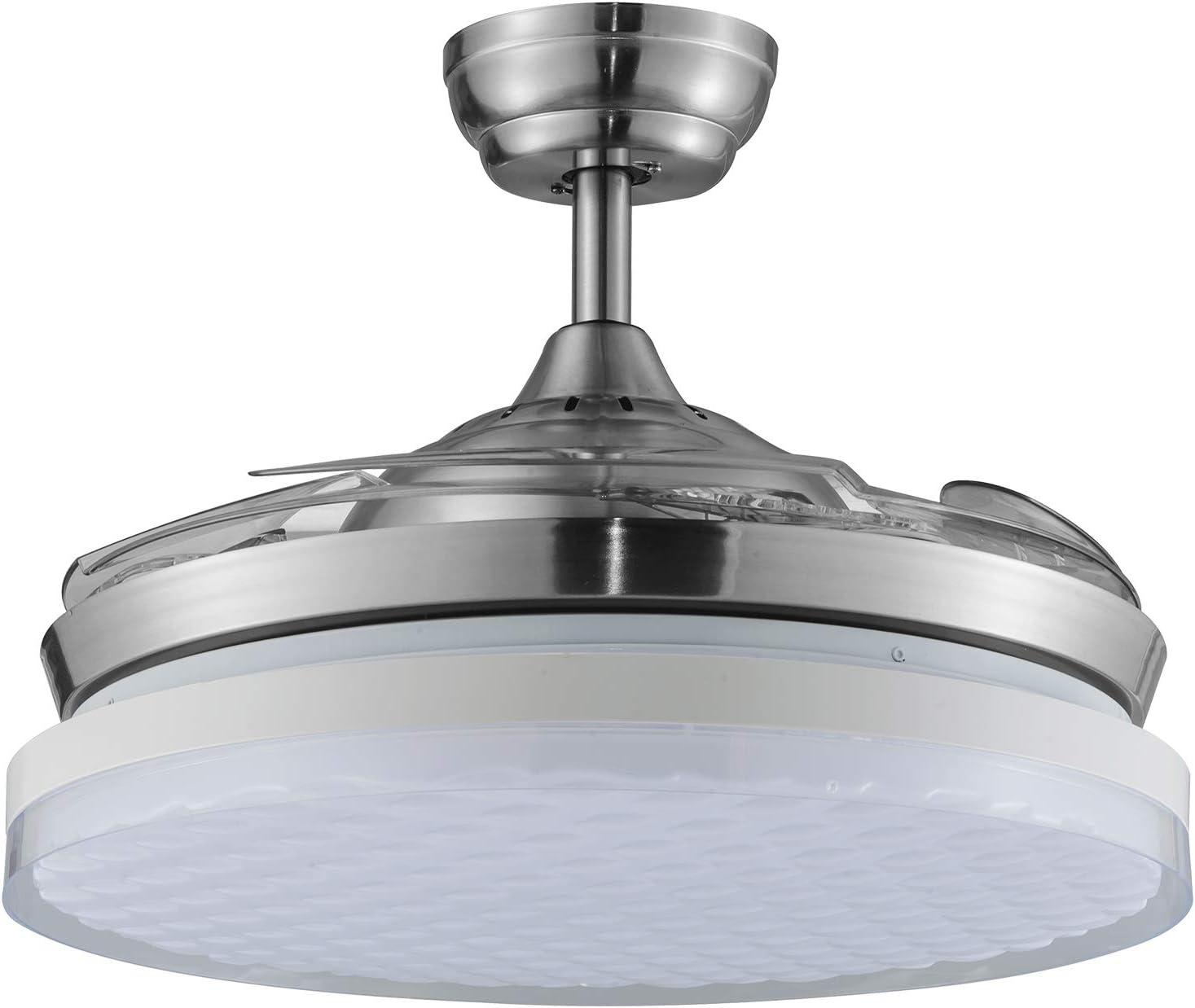 TODOLAMPARA - Ventilador DE Techo LED Modelo Samiel ASPAS Plegables Transparentes