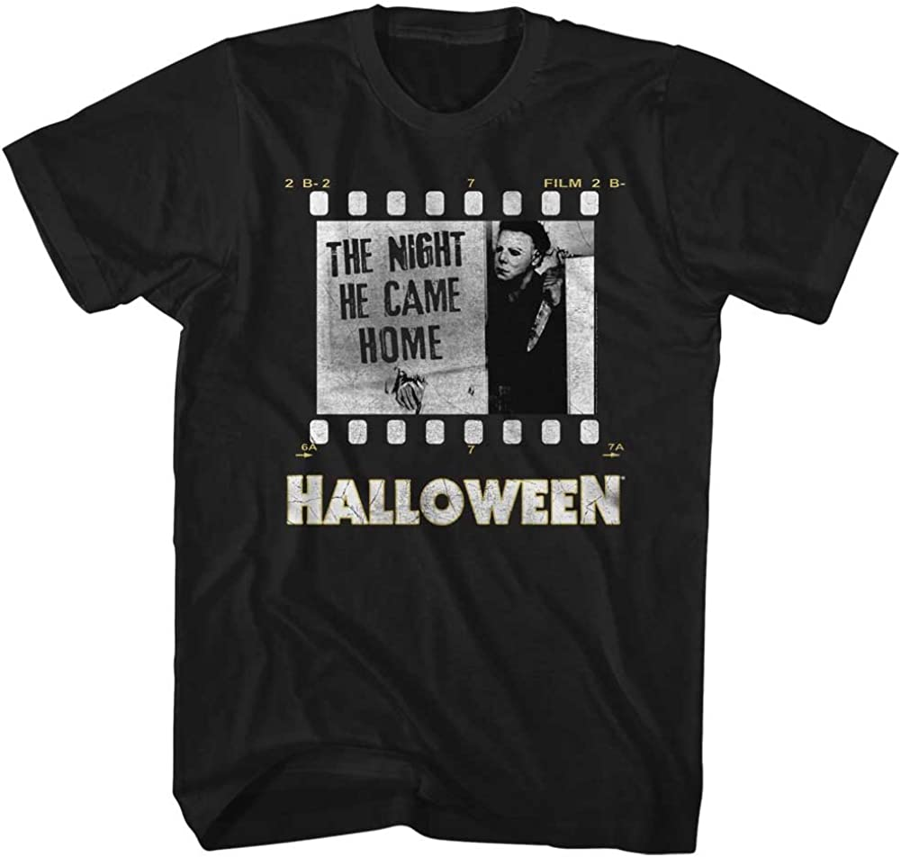 Halloween Scary Horror Slasher Movie Film Strip Night He Came Home Adult T-Shirt