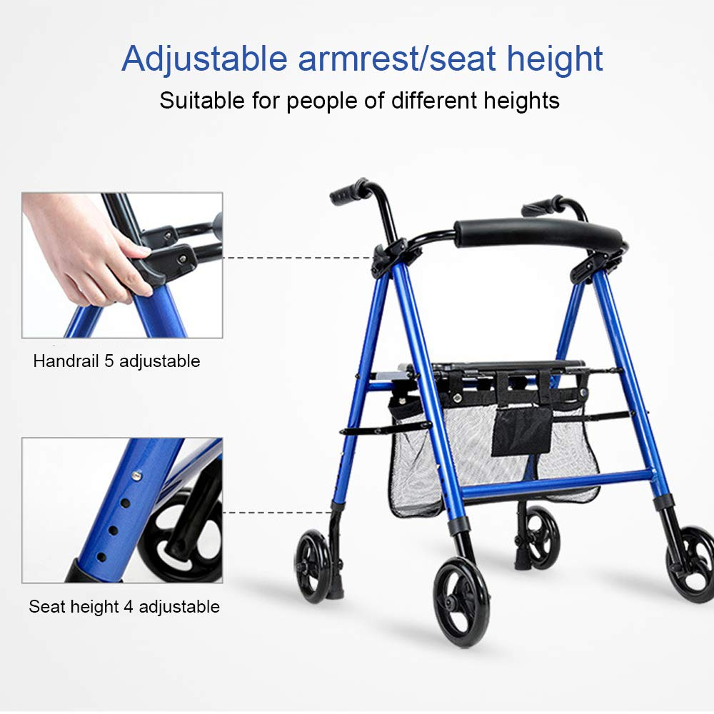 HYJ Andadores Ancianos Drive Medical Steel Walker Rollator Rueda ...