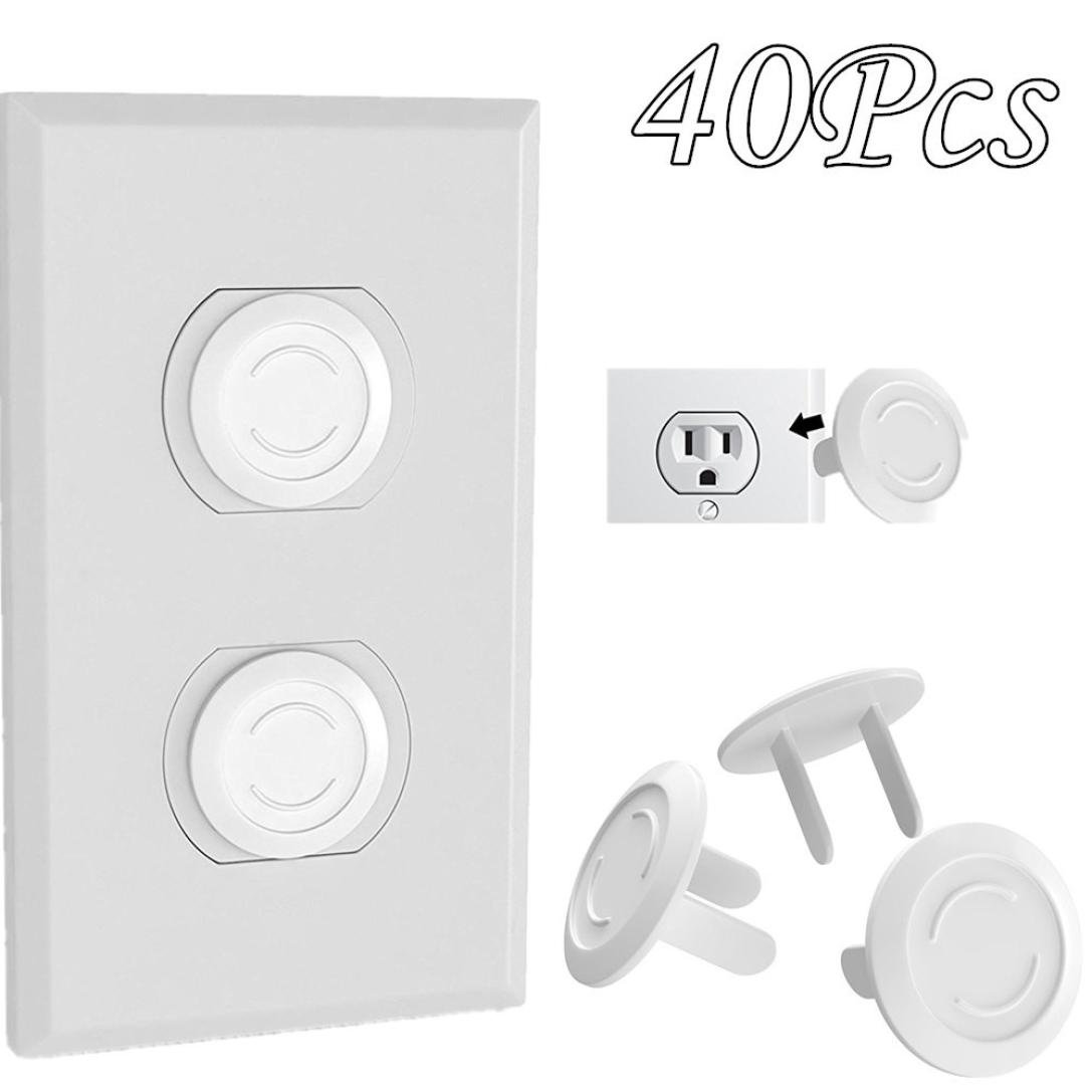 Outlet Plug Covers,FTXJ 40Pcs Baby Safety Sower Socket Protection Cover Insulation Hole Safety Caps (White)