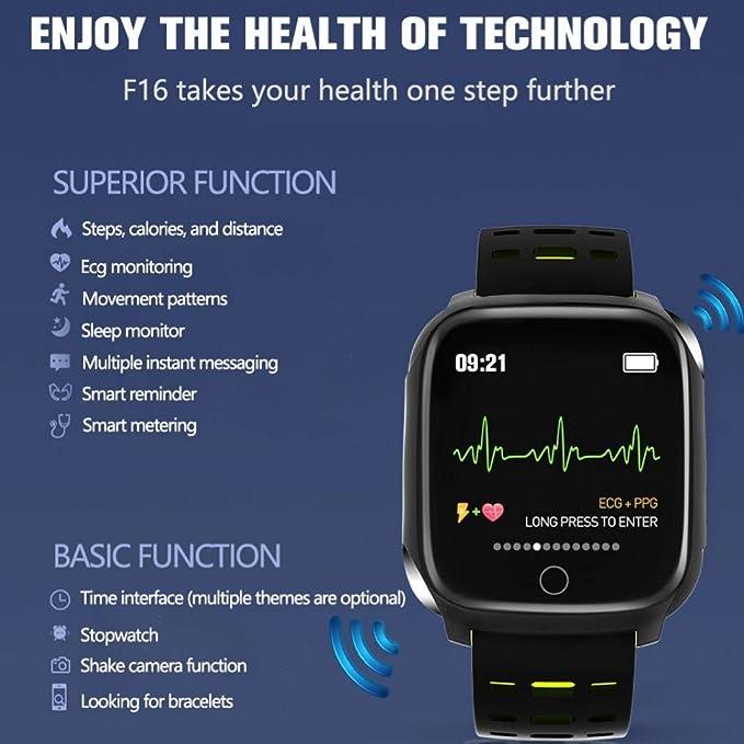 para ni/ños pod/ómetro mujeres y hombres Black Gray Pulsera inteligente//rastreador de fitness monitor de presi/ón arterial F16 ECG pulsera inteligente deportiva