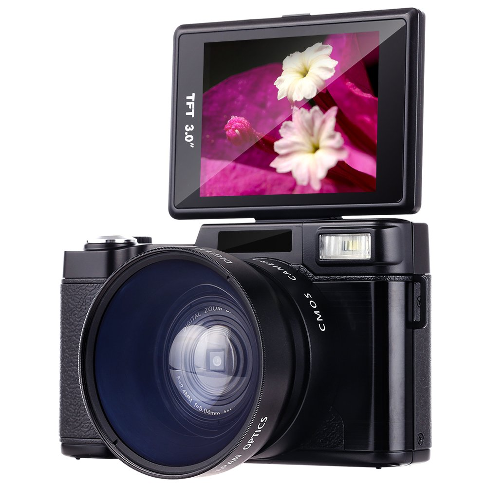 Digital Camera,Besteker Camcorder Full HD 1080p 24.0MP 3.0-Inch LCD Mini Video Camcorders with Macro Lens and Flash Light
