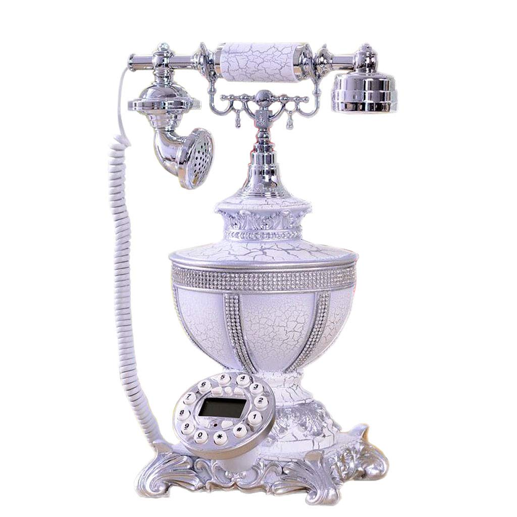 European White Resin Metal Button Retro Telephone High-end Fashion Creative Landline Home Luxury Antique Living Room Office Telephone by LCM
