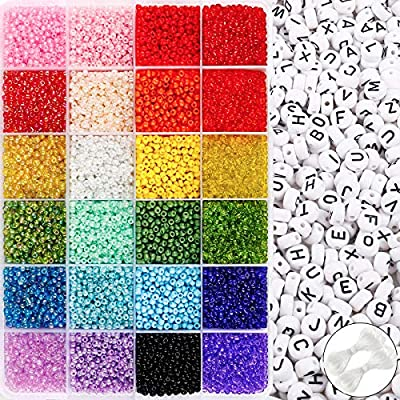 UOONY Beads Kit 14400pcs 3mm Glass Seed Beads and 600pcs Letter Beads for Bracelets Jewelry Making and Crafts with 2 Rolls of Cord and Storage Box
