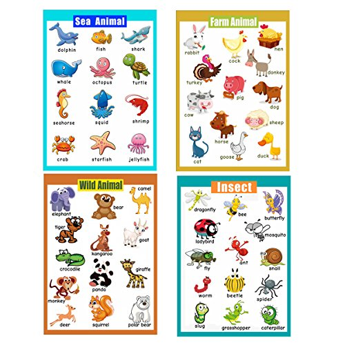 4 Pieces Laminated Educational Preschool Posters for Toddlers| Educational Wall Charts | School Classroom Posters | Class Decorations for Kindergarten- Sea Animal,Farm Animal,Wild Animal, Insect. ()