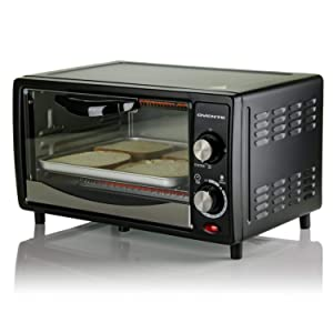 Ovente TO5810B Electric Toaster Oven, 10L, 800W, 3 Cooking Modes, 30 Min Timer, Crumb Tray, Tempered Glass Door, Black