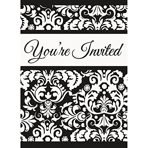 Black Damask Invitations, 8ct (Damask Wedding Invitations)