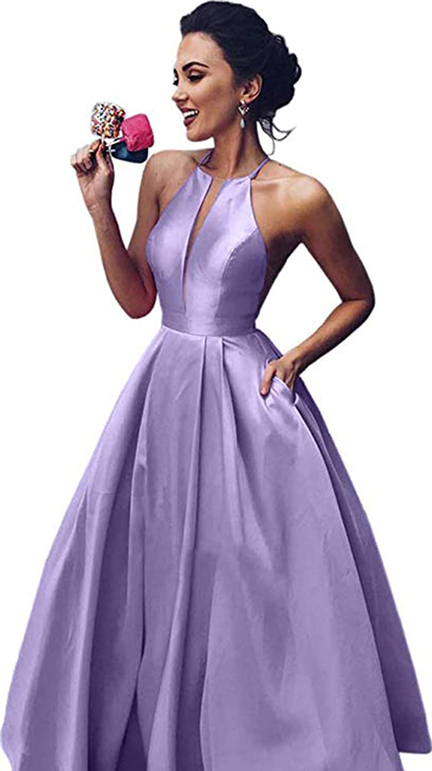 Lavender Rmaytiked Women's Halter Prom Dresses Long 2019 Satin A Line Formal Evening Ball Gowns with Pockets