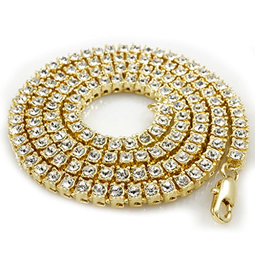 14K Gold Plated Iced Out 1 Row Tennis Necklace, 24 Inches