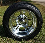 12'' LIGHTSIDE Machined Aluminum Golf Cart Wheels and 215/40-12 Low Profile DOT Golf Cart Tires Combo - Set of 4