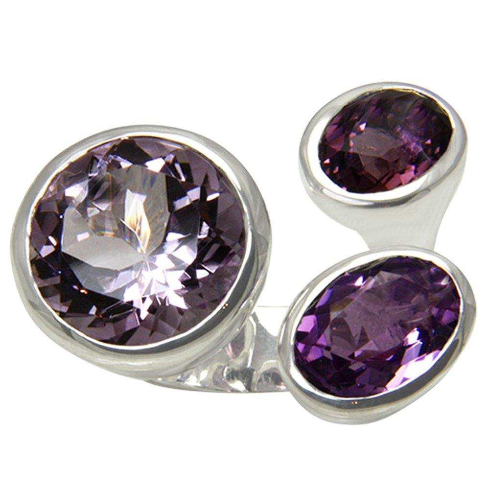 823bc6994c44 Esquí Elka - Juego de diseño JOYAS amatista anillo plata oro herrero trabajo  (Plata de ley 925) Anillo de plata con 3 AMET hysten - con Expertise  Frank  ...