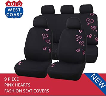 West Coast Auto Car Seat Covers Set for Cars SUV Polycloth Trucks Vans Butterfly Pink Airbag Compatible