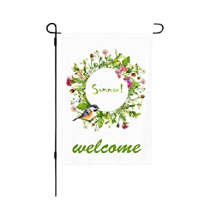 PrelerDIY Garden Flag - Yard Flags 12.5 X 18 Inch Double Sided Small Decorative Outdoor Flags Home Décor Banners, Welcome Summer Wreath Frame