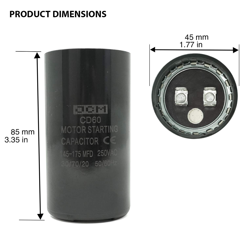 NGM 61A1D110145NNTC 145-175MFD 110VAC 50//60Hz Start Capacitor