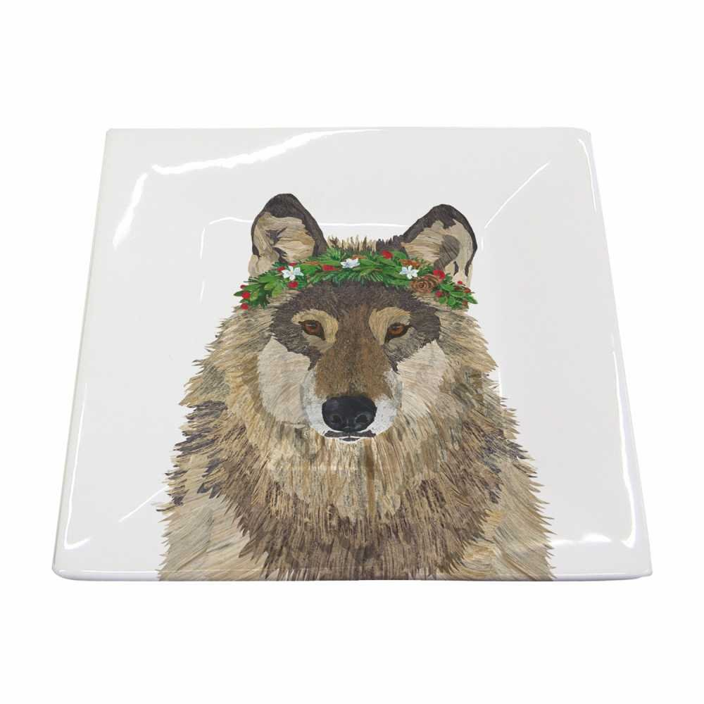 Paperproducts Design 602994 Beverage Napkin New Bone China Small Square Plate Featuring The Distinctive Glacier Wolf Design by Two Can Art, 5.75 x 5.75, Multicolor
