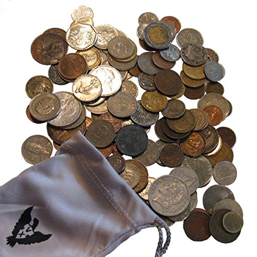 Vx Investments World Coin Bag. 1 Pound of Foreign Coins With Atleast 1 Silver Coin In a Vx Investments Pouch (Quarter Coin Us Old)