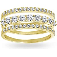 Sterling Silver Cubic Zirconia Round Stackable Anniversary Thin Eternity Band Three Ring Set