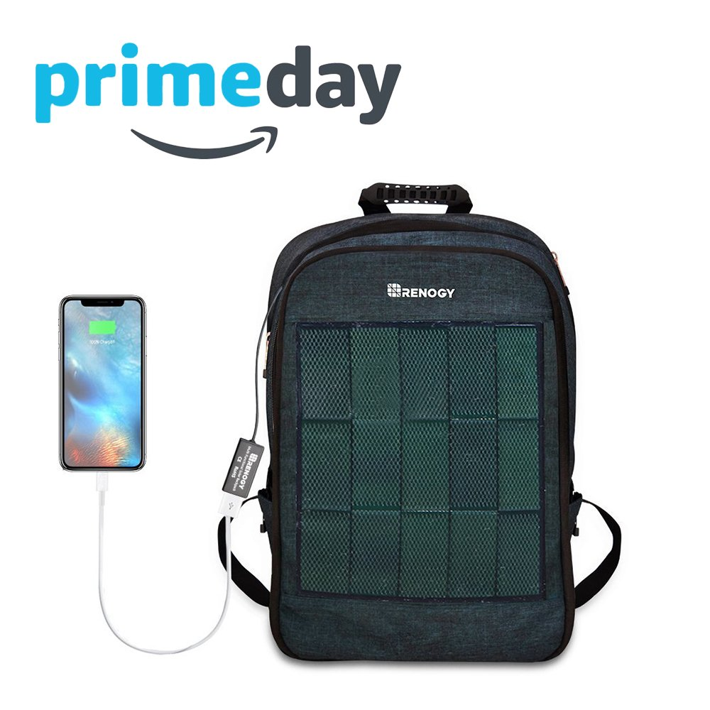 Renogy Solar Panel Powered Backpack Water Resistant Laptop Bag 20L Capacity 5.6W with USB Charging Port Catonic Dyed Polyster for Business Travelling Hiking iPhone Samsung iPad 15.6 inch Notebook
