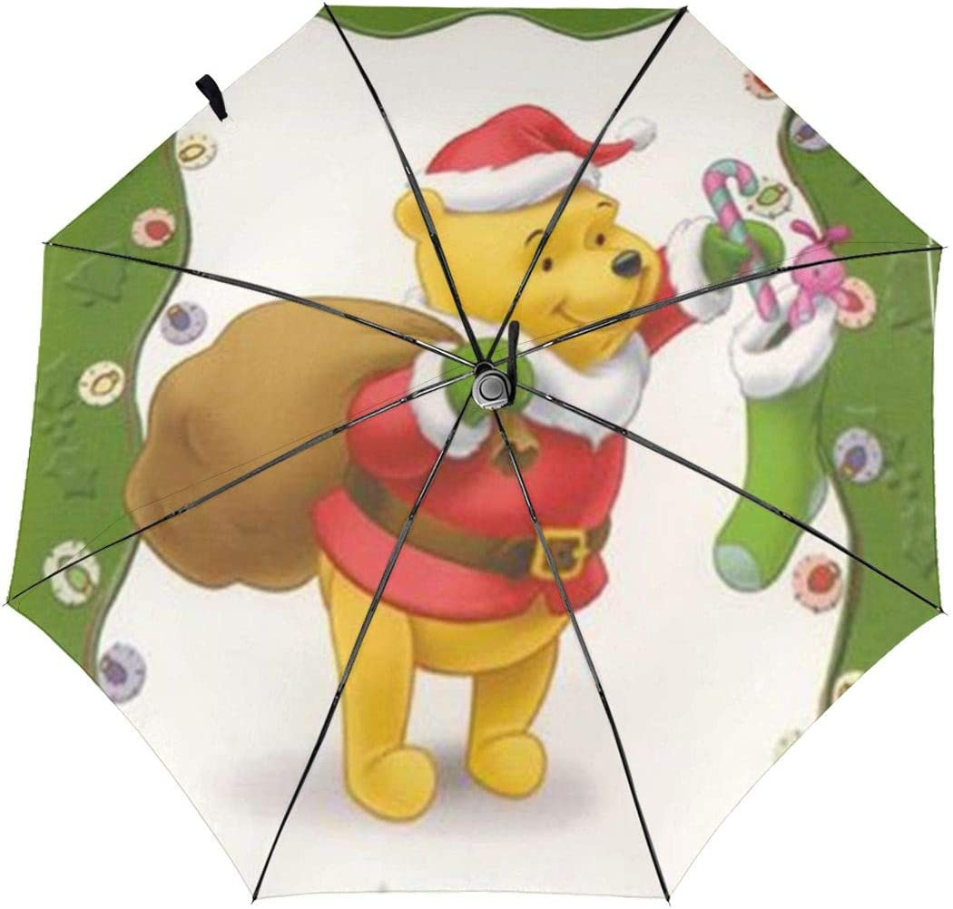 Windproof Travel Umbrella Santa Pooh Bear Christmas Compact Folding Umbrella Automatic Open//Close
