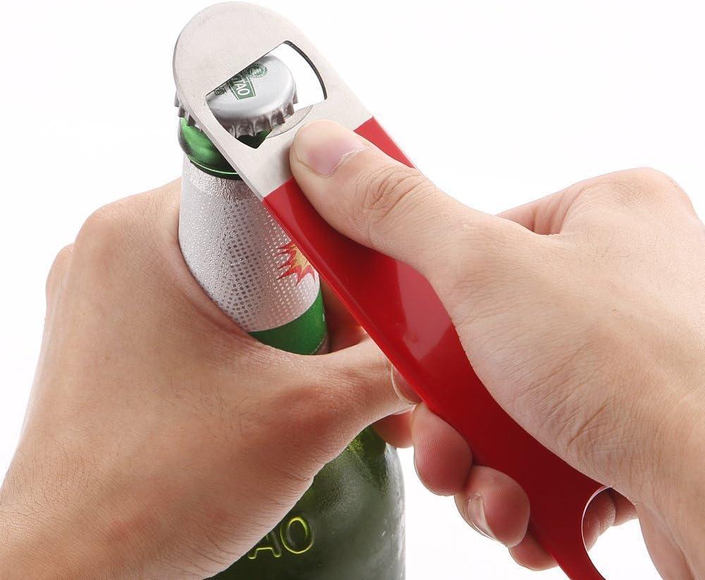 Solid and Durable Beer Openers KTOJOY 3 Pack Heavy Duty Stainless Steel Flat Bottle Opener 7 Red, Black, Blue