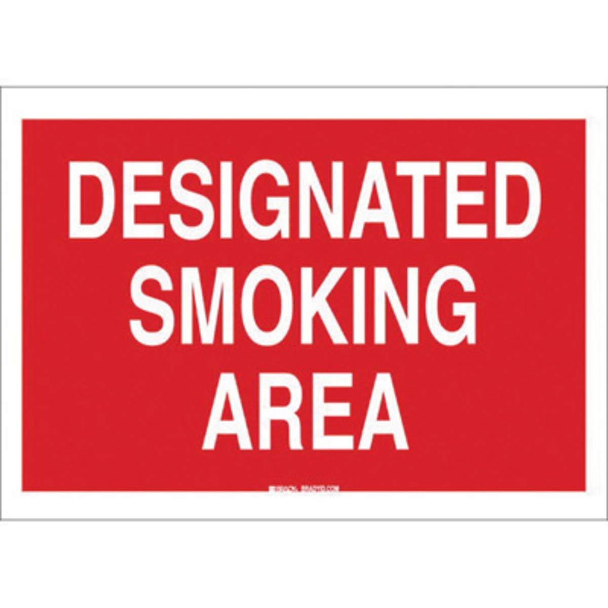 Brady 10'' X 14'' X 1/10'' White On Red B-120 Fiberglass No Smoking Sign''DESIGNATED SMOKING AREA''