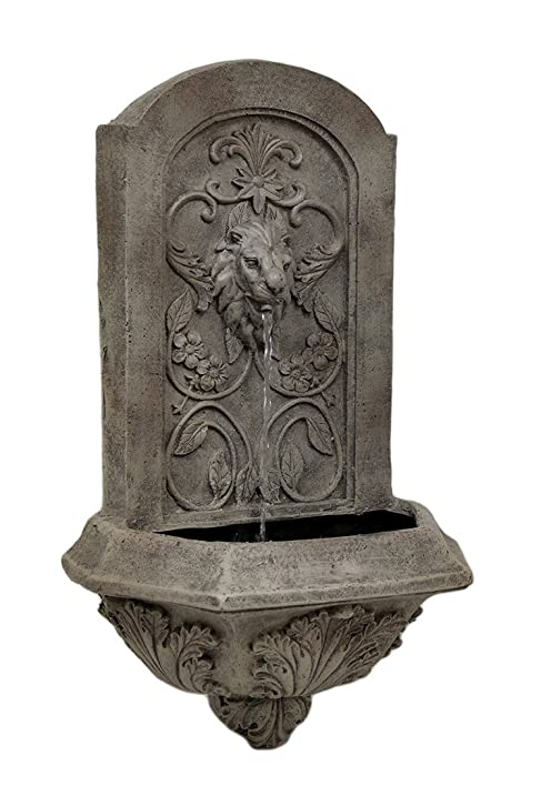 Ordinaire Resin Outdoor Fountains Soothing Lion Head Wall Mounted Water Fountain 14 X  24 X 8 Inches