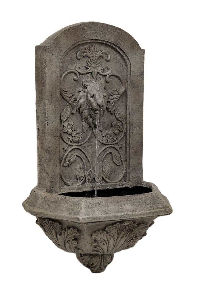 Resin Outdoor Fountains Soothing Lion Head Wall Mounted Water Fountain 14 X 24 X 8 Inches Gray Model # S28002