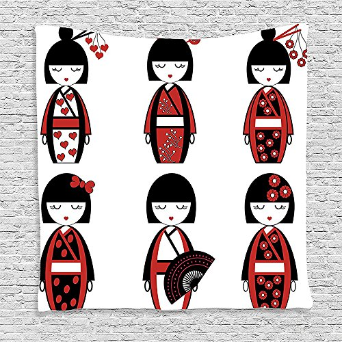 [SCOCICI Supersoft Fleece Throw Blanket Girly Decor Collection Unique Japanese Geisha Dolls in Folkloric Costumes Outfits and Hair Sticks Kimono Art Image Black Red 59 x 59] (Michael Jackson Black Or White Costume)