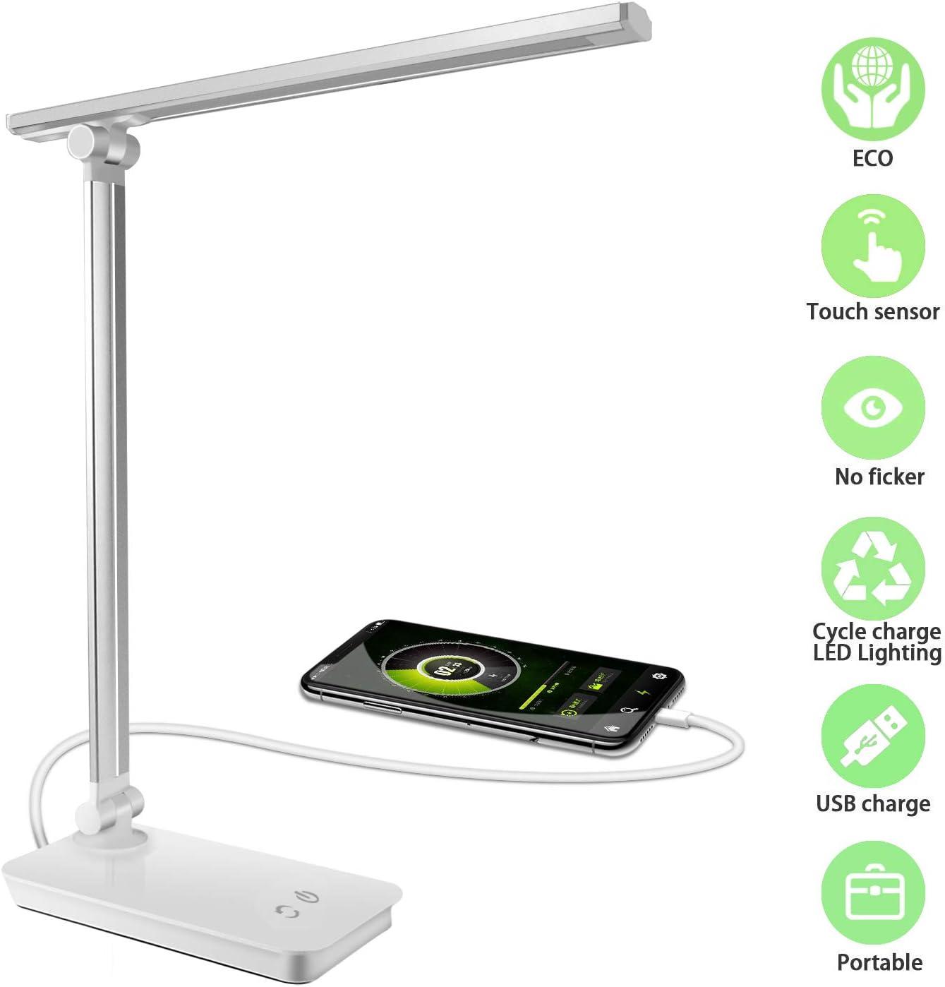 Phiraggit Lámpara Escritorio LED, Lámparas de Mesa USB Recargable con 5 Modos de Colores y 3 Niveles de Brillos, Protección para los Ojos [Clase de eficiencia energética A+++] para Leer, Estudiar.