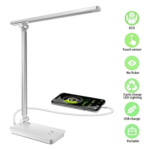 XIANRUI LED Desk Lamp Light, Dimmable Eye-Caring Folding Table Lamps with USB Charging Port,3 Lighting Models 5 Color Temperature Touch Control for Home Office Study Reading Bedroom Lamps