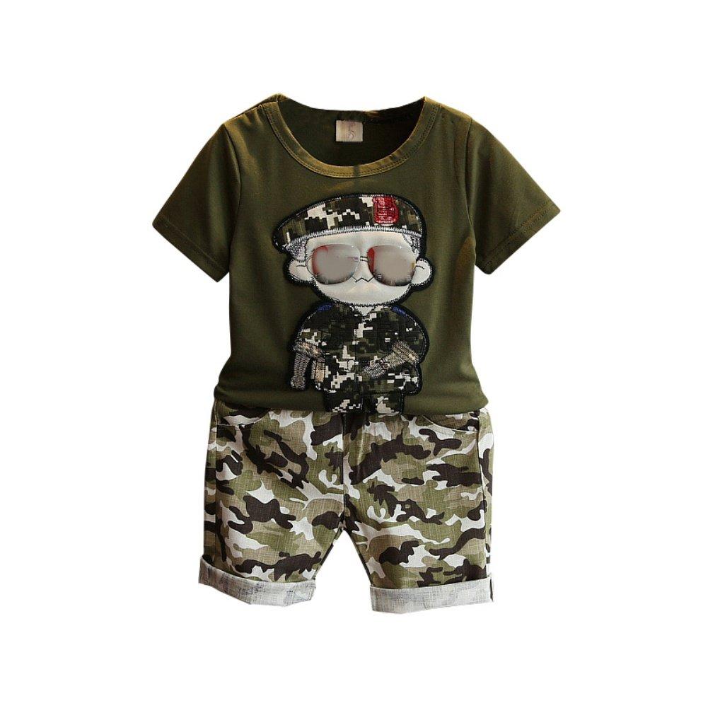 Baby Boy Camouflage Trainingsanzug 2 St/ück Cool Sport Sommer Kleidung Set T-Shirt Top und Short f/ür 3-7 Jahre Alt Little Kid
