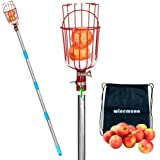winemana Fruit Picker with Cushion and 8 FT Telescopic Extension Pole, Professional Metal Tree Fruit Picker Pole with a…