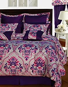 Tribeca Living Empire 12-Piece Cotton Bed in a Bag with Deep Pocket Sheet Set, King, Floral