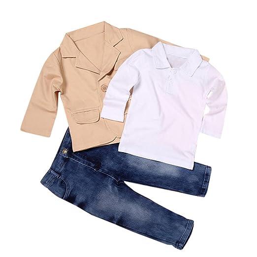 2d3835b6d01 Starmisepro 3pcs Kids Baby Boy Gentleman Coat+Shirt+Jeans Pants Trousers  Clothes Outfits Set
